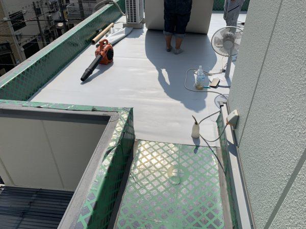 京都市左京区N邸 屋上塩ビシート防水増し貼り工事