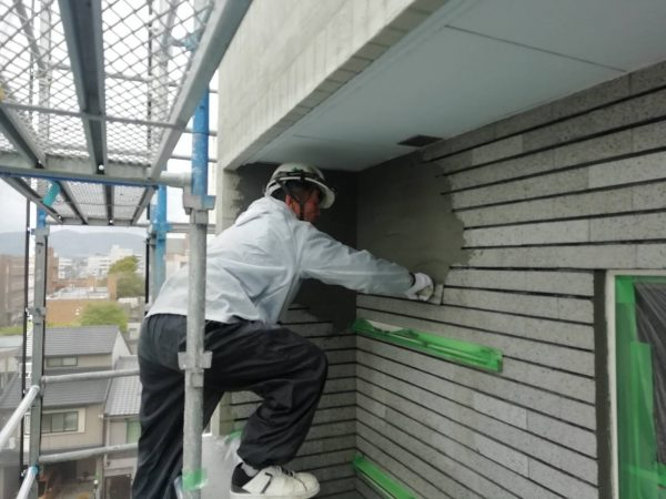 京都市南区Oマンション 外壁塗装改修工事(タイルモルタル埋め・弾性防水塗装)