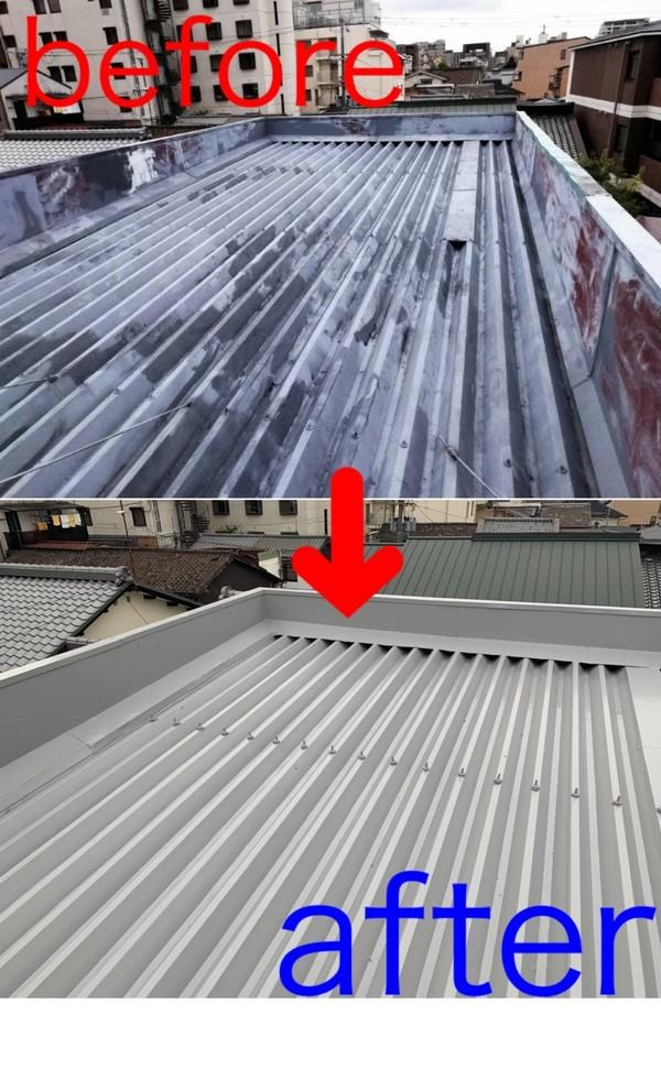 京都市中京区Jビル 折半屋根防水工事(ウレタン防水密着工法)