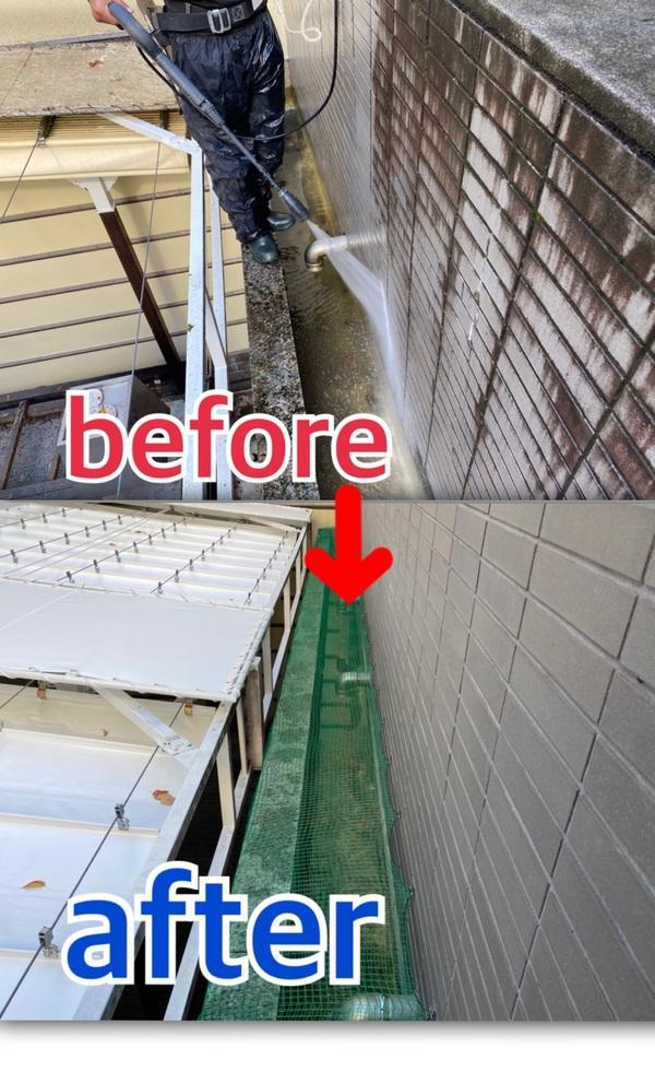 京都市中京区 I学園 滝の洗浄及びネット貼り工事